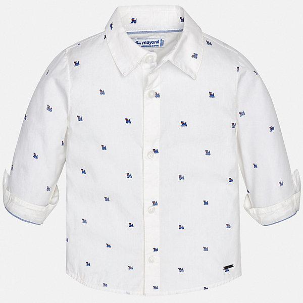 Рубашка Mayoral для мальчикаБлузки и рубашки<br>Характеристики товара:<br><br>• цвет: белый<br>• состав ткани: 100% хлопок<br>• сезон: круглый год<br>• застежка: пуговицы<br>• длинные рукава<br>• страна бренда: Испания<br>• стиль и качество<br><br>Легкая рубашка для мальчика от Майорал поможет создать стильный и удобный наряд в любое время года. Детская рубашка отличается модным и продуманным дизайном. В рубашке для мальчика от испанской компании Майорал ребенок будет выглядеть оригинально и аккуратно. <br><br>Рубашку Mayoral (Майорал) для мальчика можно купить в нашем интернет-магазине.<br>Ширина мм: 174; Глубина мм: 10; Высота мм: 169; Вес г: 157; Цвет: белый; Возраст от месяцев: 12; Возраст до месяцев: 15; Пол: Мужской; Возраст: Детский; Размер: 80,98,92,86; SKU: 7538121;