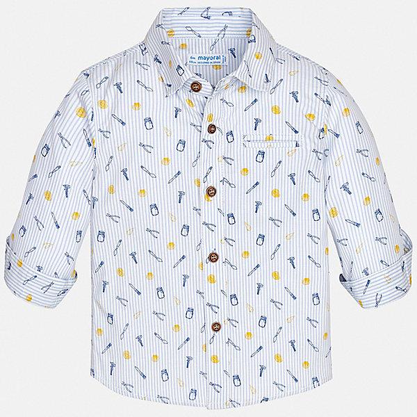 Рубашка Mayoral для мальчикаБлузки и рубашки<br>Характеристики товара:<br><br>• цвет: голубой<br>• состав ткани: 100% хлопок<br>• сезон: круглый год<br>• застежка: пуговицы<br>• длинные рукава<br>• страна бренда: Испания<br>• стиль и качество<br><br>Легкая детская рубашка сделана из дышащего приятного на ощупь материала. Благодаря продуманному крою детской рубашки создаются комфортные условия для тела. Рубашка с длинным рукавом для мальчика отличается лаконичным продуманным дизайном, она украшена принтом.<br><br>Рубашку Mayoral (Майорал) для мальчика можно купить в нашем интернет-магазине.<br>Ширина мм: 174; Глубина мм: 10; Высота мм: 169; Вес г: 157; Цвет: желтый; Возраст от месяцев: 24; Возраст до месяцев: 36; Пол: Мужской; Возраст: Детский; Размер: 98,80,86,92; SKU: 7538142;