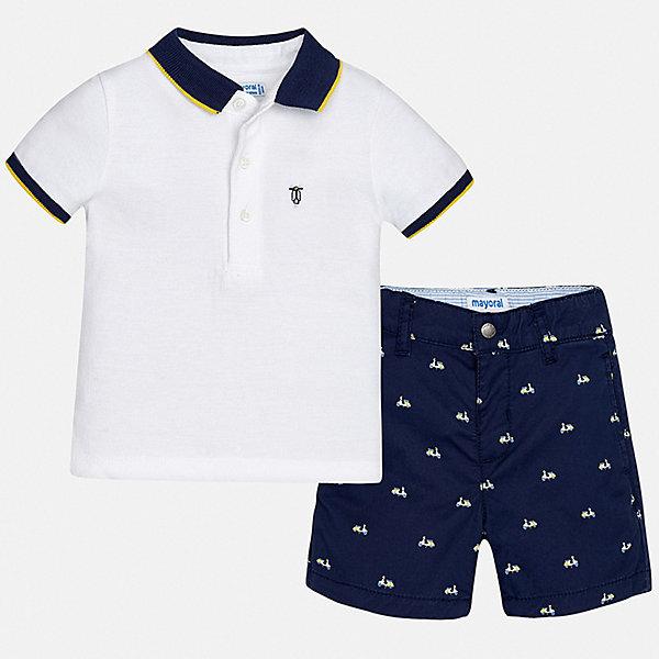 Комплект:шорты,футболка Mayoral для мальчикаКомплекты<br>Характеристики товара:<br><br>• цвет: белый, синий<br>• комплектация: шорты, футболка<br>• состав ткани: 100% хлопок<br>• сезон: лето<br>• шлевки<br>• регулируемая талия<br>• застежка: пуговицы<br>• короткие рукава<br>• страна бренда: Испания<br>• стиль и качество<br><br>Белая футболка-поло и шорты для мальчика от Майорал помогут обеспечить ребенку комфорт в жаркое время года. В этом детском комплекте - сразу две стильные вещи. В футболке и шортах для мальчика от испанской компании Майорал ребенок будет выглядеть модно, а чувствовать себя - удобно. <br><br>Комплект: шорты, футболка Mayoral (Майорал) для мальчика можно купить в нашем интернет-магазине.<br>Ширина мм: 191; Глубина мм: 10; Высота мм: 175; Вес г: 273; Цвет: синий; Возраст от месяцев: 6; Возраст до месяцев: 9; Пол: Мужской; Возраст: Детский; Размер: 74,98,92,86,80; SKU: 7538200;