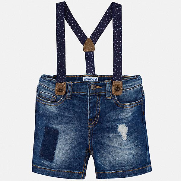 Шорты Mayoral для мальчикаШорты, бриджи, капри<br>Характеристики товара:<br><br>• цвет: синий<br>• комплектация: шорты, подтяжки<br>• состав ткани: 98% хлопок, 2% эластан<br>• сезон: лето<br>• шлевки<br>• регулируемая талия<br>• застежка: пуговица<br>• страна бренда: Испания<br>• стиль и качество<br><br>Джинсовые шорты для мальчика от Майорал помогут обеспечить ребенку комфорт в жаркое время года. В этом детском комплекте - сразу две стильные вещи. В шортах с подтяжками для мальчика от испанской компании Майорал ребенок будет выглядеть модно, а чувствовать себя - удобно. <br><br>Комплект: шорты, футболка Mayoral (Майорал) для мальчика можно купить в нашем интернет-магазине.<br>Ширина мм: 191; Глубина мм: 10; Высота мм: 175; Вес г: 273; Цвет: синий; Возраст от месяцев: 12; Возраст до месяцев: 15; Пол: Мужской; Возраст: Детский; Размер: 80,98,92,86; SKU: 7538216;