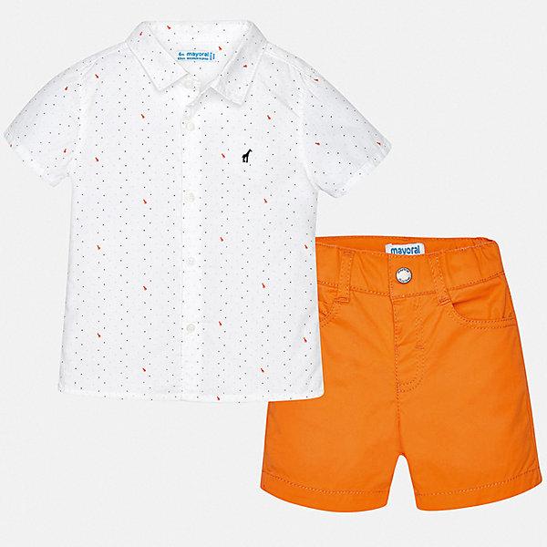 Комплект:шорты,футболка Mayoral для мальчикаКомплекты<br>Характеристики товара:<br><br>• цвет: белый, оранжевый<br>• комплектация: шорты, рубашка<br>• состав ткани: 100% хлопок<br>• сезон: лето<br>• шлевки<br>• регулируемая талия<br>• застежка: пуговицы<br>• короткие рукава<br>• страна бренда: Испания<br>• стиль и качество<br><br>Этот комплект - детские шорты и рубашка - подойдет для ношения в разных случаях. Отличный способ обеспечить ребенку комфорт в жаркую погоду - надеть этот комплект от Mayoral. Детские шорты и рубашка сшиты из качественного материала с преобладанием хлопка в составе. <br><br>Комплект: шорты, рубашка Mayoral (Майорал) для мальчика можно купить в нашем интернет-магазине.<br>Ширина мм: 191; Глубина мм: 10; Высота мм: 175; Вес г: 273; Цвет: оранжевый; Возраст от месяцев: 24; Возраст до месяцев: 36; Пол: Мужской; Возраст: Детский; Размер: 98,74,80,86,92; SKU: 7538221;