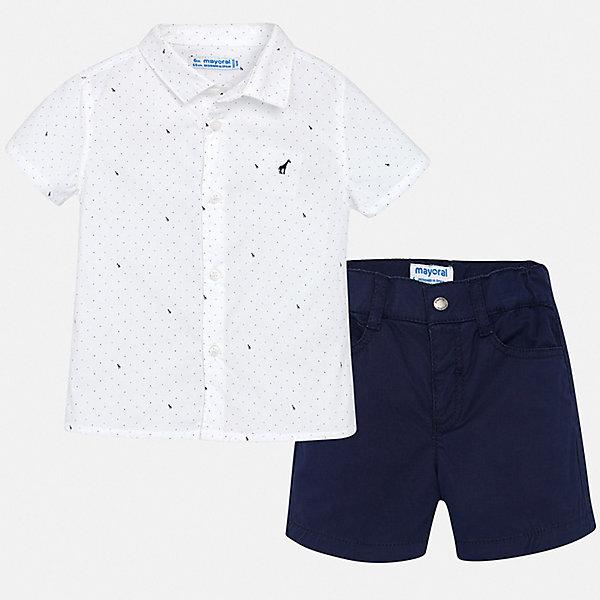Комплект:шорты,футболка Mayoral для мальчикаКомплекты<br>Характеристики товара:<br><br>• цвет: белый, синий<br>• комплектация: шорты, рубашка<br>• состав ткани: 100% хлопок<br>• сезон: лето<br>• шлевки<br>• регулируемая талия<br>• застежка: пуговицы<br>• короткие рукава<br>• страна бренда: Испания<br>• стиль и качество<br><br>Детские шорты и рубашка сшиты из дышащего качественного материала. Благодаря преобладанию в его составе натурального хлопка материал детских шорт и рубашки создает комфортные условия для тела. Шорты и рубашка для мальчика от Mayoral отличаются стильным дизайном.<br><br>Комплект: шорты, рубашка Mayoral (Майорал) для мальчика можно купить в нашем интернет-магазине.<br>Ширина мм: 191; Глубина мм: 10; Высота мм: 175; Вес г: 273; Цвет: синий; Возраст от месяцев: 24; Возраст до месяцев: 36; Пол: Мужской; Возраст: Детский; Размер: 98,80,86,92; SKU: 7538227;