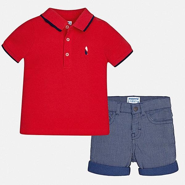 Комплект:шорты,футболка Mayoral для мальчикаКомплекты<br>Характеристики товара:<br><br>• цвет: красный, синий<br>• комплектация: шорты, футболка<br>• состав ткани: 100% хлопок<br>• сезон: лето<br>• шлевки<br>• регулируемая талия<br>• застежка: пуговицы<br>• короткие рукава<br>• страна бренда: Испания<br>• стиль и качество<br><br>Яркая футболка-поло и шорты для мальчика от Майорал помогут обеспечить ребенку комфорт в жаркое время года. В этом детском комплекте - сразу две стильные вещи. В футболке и шортах для мальчика от испанской компании Майорал ребенок будет выглядеть модно, а чувствовать себя - удобно. <br><br>Комплект: шорты, рубашка Mayoral (Майорал) для мальчика можно купить в нашем интернет-магазине.<br>Ширина мм: 191; Глубина мм: 10; Высота мм: 175; Вес г: 273; Цвет: бордовый; Возраст от месяцев: 12; Возраст до месяцев: 18; Пол: Мужской; Возраст: Детский; Размер: 86,98,92,80; SKU: 7538232;