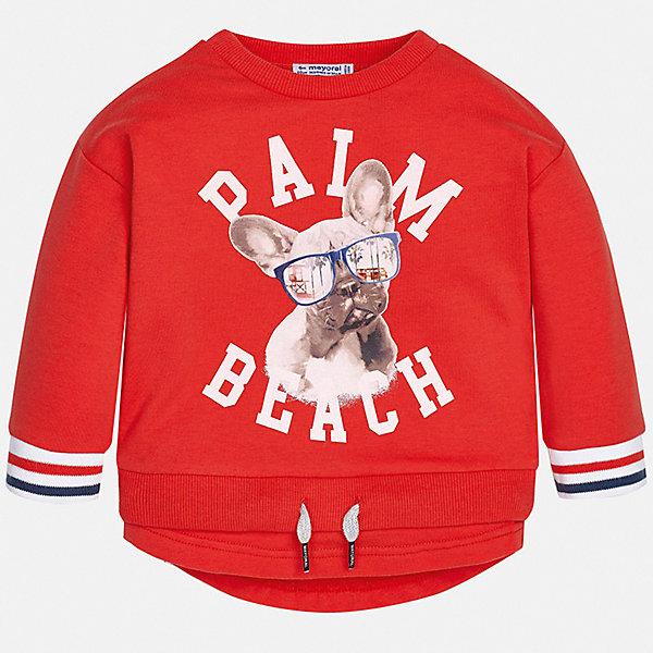 Толстовка Mayoral для мальчикаТолстовки<br>Характеристики товара:<br><br>• цвет: красный<br>• состав ткани: 60% хлопок, 35% полиэстер, 5% эластан<br>• сезон: демисезон<br>• длинные рукава<br>• страна бренда: Испания<br>• стиль и качество<br><br>Этот пуловер для мальчика от Mayoral удобно сидит по фигуре. Яркий детский пуловер сделан из приятного на ощупь материала. Отличный способ обеспечить ребенку комфорт и аккуратный внешний вид - надеть детский свитер от Mayoral. Пуловер для мальчика украшен оригинальным декором. <br><br>Пуловер Mayoral (Майорал) для мальчика можно купить в нашем интернет-магазине.<br>Ширина мм: 190; Глубина мм: 74; Высота мм: 229; Вес г: 236; Цвет: бордовый; Возраст от месяцев: 12; Возраст до месяцев: 15; Пол: Мужской; Возраст: Детский; Размер: 80,98,92,86; SKU: 7538249;