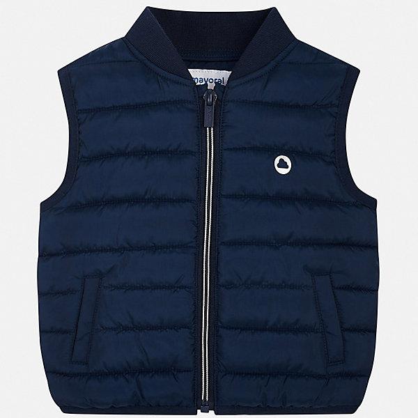 Жилет Mayoral для мальчикаВерхняя одежда<br>Характеристики товара:<br><br>• цвет: мульти<br>• состав ткани: 100% полиэстер<br>• подкладка: 100% полиэстер<br>• утеплитель: 100% полиэстер<br>• сезон: демисезон<br>• особенности модели: спортивный стиль<br>• застежка: молния<br>• страна бренда: Испания<br>• стиль и качество<br><br>Детский жилет отлично подойдет для переменной погоды. Хороший способ обеспечить ребенку тепло и комфорт - надеть теплый жилет от Mayoral. Детский жилет сшит из приятного на ощупь материала. Жилет для мальчика Mayoral дополнен утеплителем и подкладкой.<br><br>Жилет Mayoral (Майорал) для мальчика можно купить в нашем интернет-магазине.<br>Ширина мм: 190; Глубина мм: 74; Высота мм: 229; Вес г: 236; Цвет: синий; Возраст от месяцев: 24; Возраст до месяцев: 36; Пол: Мужской; Возраст: Детский; Размер: 98,86,92; SKU: 7538262;
