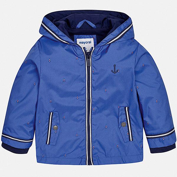 Куртка Mayoral для мальчикаВетровки и жакеты<br>Характеристики товара:<br><br>• цвет: синий<br>• состав ткани: 100% полиэстер<br>• подкладка: 51% хлопок, 49% полиэстер<br>• утеплитель: нет<br>• сезон: демисезон<br>• температурный режим: от +5 до +20<br>• особенности куртки: с капюшоном<br>• застежка: молния<br>• страна бренда: Испания<br>• стиль и качество<br><br>Такая легкая детская куртка подойдет для переменной погоды. Эта ветровка от Mayoral отличается стильным оригинальным дизайном. Детская куртка сшита из легкого качественного материала. Куртка для мальчика Mayoral дополнена капюшоном и манжетами.<br><br>Куртку Mayoral (Майорал) для мальчика можно купить в нашем интернет-магазине.<br>Ширина мм: 356; Глубина мм: 10; Высота мм: 245; Вес г: 519; Цвет: лиловый; Возраст от месяцев: 18; Возраст до месяцев: 24; Пол: Мужской; Возраст: Детский; Размер: 92,98,86,80,74; SKU: 7538361;