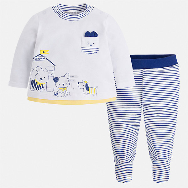 Комплект:ползунки,футболка Mayoral для мальчикаКомплекты<br>Характеристики товара:<br><br>• цвет: белый<br>• состав ткани: 96% хлопок, 4% эластан<br>• сезон: круглый год<br>• комплектация: лонгслив и ползунки<br>• пояс: резинка<br>• застежка: кнопки<br>• страна бренда: Испания<br>• стиль и качество<br><br>Симпатичный комплект для мальчика состоит из лонгслива и ползунков. Набор для малышей сшит из гипоаллергенного и дышащего хлопка. Комплект: лонгслив и ползунки для мальчика легко надевается и комфортно сидит. <br><br>Комплект: лонгслив и ползунки Mayoral (Майорал) для мальчика можно купить в нашем интернет-магазине.<br>Ширина мм: 157; Глубина мм: 13; Высота мм: 119; Вес г: 200; Цвет: серый; Возраст от месяцев: 24; Возраст до месяцев: 36; Пол: Мужской; Возраст: Детский; Размер: 50,80,74,68,62; SKU: 7538423;
