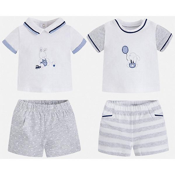 Комплект:футболка,шорты Mayoral для мальчикаКомплекты<br>Характеристики товара:<br><br>• цвет: белый, серый<br>• комплектация: 2 шорт, 2 футболки<br>• состав ткани: 95% хлопок, 5% эластан<br>• сезон: лето<br>• пояс: резинка<br>• застежка: кнопки<br>• короткие рукава<br>• страна бренда: Испания<br>• стиль и качество<br><br>В этом комплекте - две футболки и двое шорт для мальчика, которые отлично сочетаются друг с другом. Детский набор от Майорал поможет обеспечить ребенку комфорт. В этом детском комплекте - сразу четыре стильные вещи. <br><br>Комплект: 2 шорт, 2 футболки Mayoral (Майорал) для мальчика можно купить в нашем интернет-магазине.<br>Ширина мм: 157; Глубина мм: 13; Высота мм: 119; Вес г: 200; Цвет: белый; Возраст от месяцев: 2; Возраст до месяцев: 5; Пол: Мужской; Возраст: Детский; Размер: 62,80,74,68; SKU: 7538518;