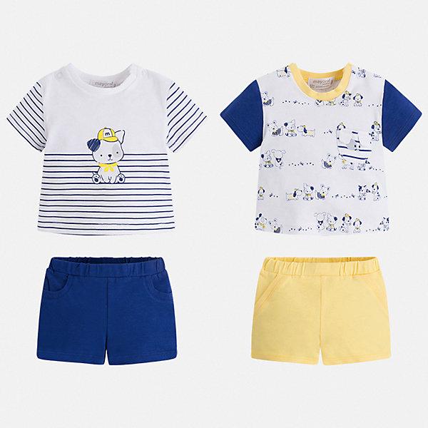 Комплект:2 футболки и 2 шорт Mayoral для мальчикаКомплекты<br>Характеристики товара:<br><br>• цвет: белый<br>• комплектация: 2 шорт, 2 футболки<br>• состав ткани: 95% хлопок, 5% эластан<br>• сезон: лето<br>• пояс: резинка<br>• застежка: кнопки<br>• короткие рукава<br>• страна бренда: Испания<br>• стиль и качество<br><br>В хлопковых футболках и шортах для мальчика от испанской компании Майорал ребенок будет выглядеть модно, а чувствовать себя - удобно. В этот симпатичном наборе - две футболки и двое шорт для малыша, которые отлично сочетаются как друг с другом, так и с другими вещами. Детский набор от Майорал поможет обеспечить ребенку удобство. <br><br>Комплект: 2 шорт, 2 футболки Mayoral (Майорал) для мальчика можно купить в нашем интернет-магазине.<br>Ширина мм: 157; Глубина мм: 13; Высота мм: 119; Вес г: 200; Цвет: желтый; Возраст от месяцев: 2; Возраст до месяцев: 5; Пол: Мужской; Возраст: Детский; Размер: 62,80,74,68; SKU: 7538523;