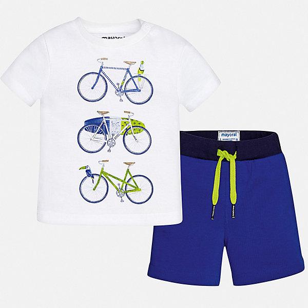 Комплект:футболка,брюки Mayoral для мальчикаКомплекты<br>Характеристики товара:<br><br>• цвет: белый, синий<br>• комплектация: шорты, футболка<br>• состав ткани: 100% хлопок<br>• сезон: лето<br>• особенности модели: спортивный стиль<br>• пояс: резинка, шнурок<br>• застежка: кнопка<br>• короткие рукава<br>• страна бренда: Испания<br>• стиль и качество<br><br>Футболка с принтом и шорты для мальчика от Майорал помогут обеспечить ребенку комфорт в жаркое время года. В этом детском комплекте - сразу две стильные вещи. В футболке и шортах для мальчика от испанской компании Майорал ребенок будет выглядеть модно, а чувствовать себя - удобно. <br><br>Комплект: шорты, рубашка Mayoral (Майорал) для мальчика можно купить в нашем интернет-магазине.<br>Ширина мм: 199; Глубина мм: 10; Высота мм: 161; Вес г: 151; Цвет: синий; Возраст от месяцев: 6; Возраст до месяцев: 9; Пол: Мужской; Возраст: Детский; Размер: 74,98,92,86,80; SKU: 7538556;