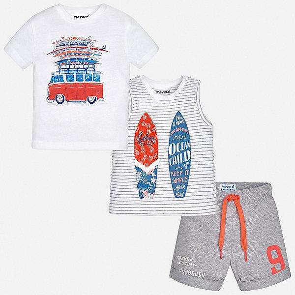 Комплект Mayoral для мальчикаКомплекты<br>Характеристики товара:<br><br>• цвет: белый<br>• комплектация: шорты, футболка, майка<br>• состав ткани: 100% хлопок<br>• сезон: лето<br>• особенности модели: спортивный стиль<br>• пояс: резинка, шнурок<br>• короткие рукава<br>• страна бренда: Испания<br>• стиль и качество<br><br>Хлопковые майка, футболка и шорты для мальчика от Майорал - отличный комплект для жаркого времени года. В этом детском комплекте - сразу три качественные и модные вещи. В футболке, майке и шортах для мальчика от испанской компании Майорал ребенок будет чувствовать себя удобно благодаря высокому качеству материала и швов. <br><br>Комплект: шорты, футболка, майка Mayoral (Майорал) для мальчика можно купить в нашем интернет-магазине.<br>Ширина мм: 215; Глубина мм: 88; Высота мм: 191; Вес г: 336; Цвет: серый; Возраст от месяцев: 6; Возраст до месяцев: 9; Пол: Мужской; Возраст: Детский; Размер: 74,98,92,86,80; SKU: 7538586;