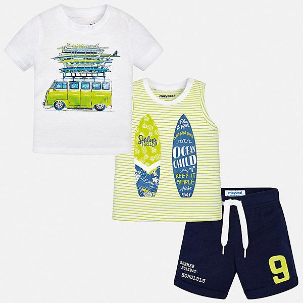 Комплект Mayoral для мальчикаКомплекты<br>Характеристики товара:<br><br>• цвет: белый<br>• комплектация: шорты, футболка, майка<br>• состав ткани: 100% хлопок<br>• сезон: лето<br>• особенности модели: спортивный стиль<br>• пояс: резинка, шнурок<br>• короткие рукава<br>• страна бренда: Испания<br>• стиль и качество<br><br>Качественные футболка, майка и шорты для мальчика от Майорал помогут обеспечить ребенку комфорт в жаркое время года. В этом детском комплекте - сразу три стильные вещи. В футболке, майке и шортах для мальчика от испанской компании Майорал ребенок будет выглядеть модно, а чувствовать себя - удобно. <br><br>Комплект: шорты, футболка, майка Mayoral (Майорал) для мальчика можно купить в нашем интернет-магазине.<br>Ширина мм: 215; Глубина мм: 88; Высота мм: 191; Вес г: 336; Цвет: серый; Возраст от месяцев: 6; Возраст до месяцев: 9; Пол: Мужской; Возраст: Детский; Размер: 74,98,92,86,80; SKU: 7538592;