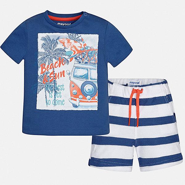 Комплект:Футболка ,шорты Mayoral для мальчикаКомплекты<br>Характеристики товара:<br><br>• цвет: синий<br>• комплектация: шорты, футболка<br>• состав ткани: 100% хлопок<br>• сезон: лето<br>• особенности модели: спортивный стиль<br>• пояс: резинка, шнурок<br>• короткие рукава<br>• страна бренда: Испания<br>• стиль и качество<br><br>Хлопковые футболка и шорты для мальчика от Майорал - отличный комплект для жаркого времени года. В этом детском комплекте - сразу две качественные и модные вещи. В футболке и шортах для мальчика от испанской компании Майорал ребенок будет чувствовать себя удобно благодаря высокому качеству материала и швов. <br><br>Комплект: шорты, футболка Mayoral (Майорал) для мальчика можно купить в нашем интернет-магазине.<br>Ширина мм: 230; Глубина мм: 40; Высота мм: 220; Вес г: 250; Цвет: синий; Возраст от месяцев: 12; Возраст до месяцев: 18; Пол: Мужской; Возраст: Детский; Размер: 86,80,74,98,92; SKU: 7538604;