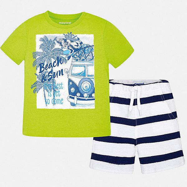 Комплект:Футболка с длинным рукавом,брюки Mayoral для мальчикаКомплекты<br>Характеристики товара:<br><br>• цвет: мульти<br>• комплектация: шорты, футболка<br>• состав ткани: 100% хлопок<br>• сезон: лето<br>• особенности модели: спортивный стиль<br>• пояс: резинка, шнурок<br>• короткие рукава<br>• страна бренда: Испания<br>• стиль и качество<br><br>Удобный летний комплект - футболка с принтом и шорты для мальчика от Майорал - отлично сочетается между собой, а также с другими вещами. В этом детском наборе - две качественные вещи. В футболке и шортах для мальчика от испанской компании Майорал ребенок будет выглядеть модно, а чувствовать себя - удобно. <br><br>Комплект: шорты, футболка Mayoral (Майорал) для мальчика можно купить в нашем интернет-магазине.<br>Ширина мм: 230; Глубина мм: 40; Высота мм: 220; Вес г: 250; Цвет: зеленый; Возраст от месяцев: 6; Возраст до месяцев: 9; Пол: Мужской; Возраст: Детский; Размер: 74,98,92,86,80; SKU: 7538791;