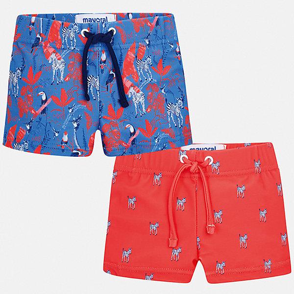 Комплект:2 пары купальных плавок Mayoral для мальчикаКупальники и плавки<br>Характеристики товара:<br><br>• цвет: голубой, красный<br>• комплектация: 2 шт.<br>• состав ткани: 85% полиэстер, 15% эластан<br>• подкладка: 100% полиэстер<br>• сезон: лето<br>• пояс: резинка, шнурок<br>• страна бренда: Испания<br>• стиль и качество<br><br>Плавки для мальчика от Майорал быстро сохнут благодаря качественному материалу. В таком детском комплекте - сразу две стильные вещи. В плавках для мальчика от испанской компании Майорал ребенок будет чувствовать себя удобно на пляже и в воде.<br><br>Комплект: 2 пары плавок Mayoral (Майорал) для мальчика можно купить в нашем интернет-магазине.<br>Ширина мм: 183; Глубина мм: 60; Высота мм: 135; Вес г: 119; Цвет: бордовый; Возраст от месяцев: 24; Возраст до месяцев: 36; Пол: Мужской; Возраст: Детский; Размер: 98,92,86; SKU: 7538801;