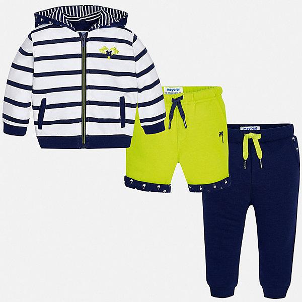 Спортивный костюм Mayoral для мальчикаСпортивная одежда<br>Характеристики товара:<br><br>• цвет: синий<br>• комплектация: шорты, толстовка, брюки<br>• состав ткани: 80% хлопок, 20% полиэстер<br>• сезон: круглый год<br>• особенности модели: спортивный стиль<br>• застежка: молния<br>• пояс: резинка, шнурок<br>• длинные рукава<br>• страна бренда: Испания<br>• стиль и качество<br><br>Спортивный костюм - шорты, толстовка и брюки для мальчика от Майорал - отлично сочетается между собой, а также с другими вещами. В этом детском спортивном костюме - сразу три модные вещи. В спортивном костюме для мальчика от испанской компании Майорал ребенок будет выглядеть модно, а чувствовать себя - удобно. <br><br>Спортивный костюм Mayoral (Майорал) для мальчика можно купить в нашем интернет-магазине.<br>Ширина мм: 247; Глубина мм: 16; Высота мм: 140; Вес г: 225; Цвет: зеленый; Возраст от месяцев: 6; Возраст до месяцев: 9; Пол: Мужской; Возраст: Детский; Размер: 86,80,74,98,92; SKU: 7538869;