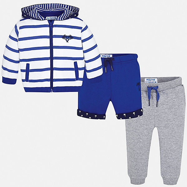 Спортивный костюм Mayoral для мальчикаКомплекты<br>Характеристики товара:<br><br>• цвет: синий<br>• комплектация: шорты, толстовка, брюки<br>• состав ткани: 80% хлопок, 20% полиэстер<br>• сезон: круглый год<br>• особенности модели: спортивный стиль<br>• застежка: молния<br>• пояс: резинка, шнурок<br>• длинные рукава<br>• страна бренда: Испания<br>• стиль и качество<br><br>Удобные шорты, толстовка и брюки для ребенка от Майорал - отличный комплект для занятия спортом. В этом детском спортивном костюме - сразу три качественные и модные вещи. В спортивном костюме для ребенка от испанской компании Майорал ребенок будет чувствовать себя удобно благодаря высокому качеству материала и швов. <br><br>Спортивный костюм Mayoral (Майорал) для мальчика можно купить в нашем интернет-магазине.<br>Ширина мм: 247; Глубина мм: 16; Высота мм: 140; Вес г: 225; Цвет: синий; Возраст от месяцев: 24; Возраст до месяцев: 36; Пол: Мужской; Возраст: Детский; Размер: 98,74,80,86,92; SKU: 7538875;