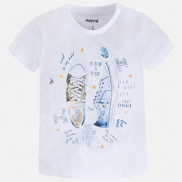 Футболка Mayoral для мальчикаФутболки, поло и топы<br>Характеристики товара:<br><br>• цвет: белый<br>• состав ткани: 100% хлопок<br>• сезон: лето<br>• короткие рукава<br>• страна бренда: Испания<br>• стиль и качество<br><br>Такая оригинальная детская футболка с коротким рукавом декорирована стильным принтом. Благодаря продуманному крою детской футболки создаются комфортные условия для тела. Эта футболка для мальчика отличается модным дизайном.<br><br>Футболку Mayoral (Майорал) для мальчика можно купить в нашем интернет-магазине.<br>Ширина мм: 199; Глубина мм: 10; Высота мм: 161; Вес г: 151; Цвет: белый; Возраст от месяцев: 96; Возраст до месяцев: 108; Пол: Мужской; Возраст: Детский; Размер: 134,104,92,98,110,116,122,128; SKU: 7538905;