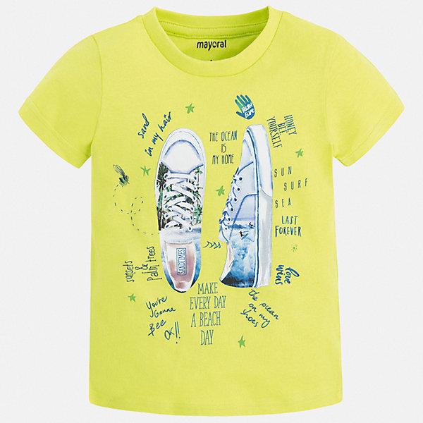 Футболка Mayoral для мальчикаФутболки, поло и топы<br>Характеристики товара:<br><br>• цвет: зеленый<br>• состав ткани: 100% хлопок<br>• сезон: лето<br>• короткие рукава<br>• страна бренда: Испания<br>• стиль и качество<br><br>Такая хлопковая футболка для мальчика от Майорал поможет обеспечить ребенку комфорт. Детская футболка отличается стильным и продуманным дизайном. В футболке для мальчика от испанской компании Майорал ребенок будет выглядеть модно, а чувствовать себя - удобно. <br><br>Футболку Mayoral (Майорал) для мальчика можно купить в нашем интернет-магазине.<br>Ширина мм: 199; Глубина мм: 10; Высота мм: 161; Вес г: 151; Цвет: зеленый; Возраст от месяцев: 18; Возраст до месяцев: 24; Пол: Мужской; Возраст: Детский; Размер: 92,134,128,122,116,110,104,98; SKU: 7538923;