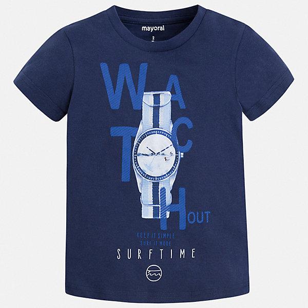 Футболка Mayoral для мальчикаФутболки, поло и топы<br>Характеристики товара:<br><br>• цвет: синий<br>• состав ткани: 100% хлопок<br>• сезон: лето<br>• короткие рукава<br>• страна бренда: Испания<br>• стиль и качество<br><br>Универсальная детская футболка с коротким рукавом декорирована стильным принтом. Благодаря продуманному крою детской футболки создаются комфортные условия для тела. Эта футболка для мальчика отличается модным дизайном.<br><br>Футболку Mayoral (Майорал) для мальчика можно купить в нашем интернет-магазине.<br>Ширина мм: 199; Глубина мм: 10; Высота мм: 161; Вес г: 151; Цвет: синий; Возраст от месяцев: 36; Возраст до месяцев: 48; Пол: Мужской; Возраст: Детский; Размер: 104,110,116,122,128,134,92,98; SKU: 7538932;
