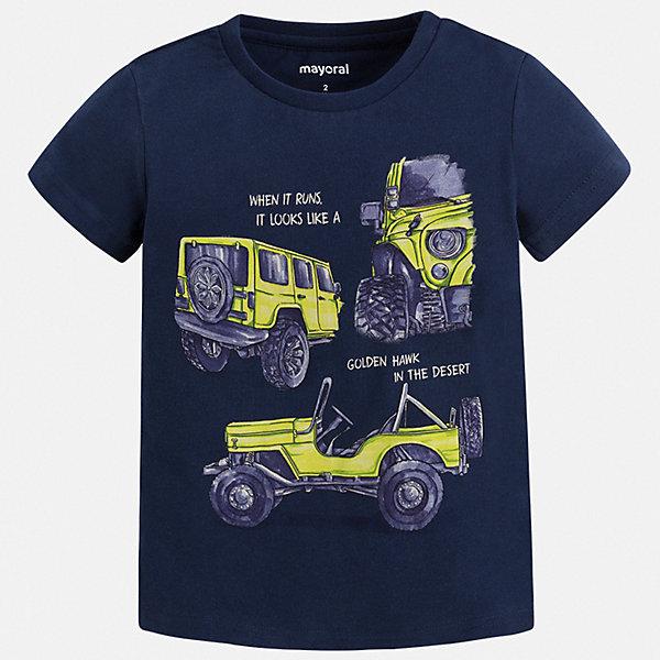 Футболка Mayoral для мальчикаФутболки, поло и топы<br>Характеристики товара:<br><br>• цвет: синий<br>• состав ткани: 100% хлопок<br>• сезон: лето<br>• короткие рукава<br>• страна бренда: Испания<br>• стиль и качество<br><br>Практичная детская футболка с коротким рукавом декорирована стильным принтом. Благодаря продуманному крою детской футболки создаются комфортные условия для тела. Эта футболка для мальчика отличается модным дизайном.<br><br>Футболку Mayoral (Майорал) для мальчика можно купить в нашем интернет-магазине.<br>Ширина мм: 199; Глубина мм: 10; Высота мм: 161; Вес г: 151; Цвет: синий; Возраст от месяцев: 18; Возраст до месяцев: 24; Пол: Мужской; Возраст: Детский; Размер: 104,98,92,134,128,122,116,110; SKU: 7538959;