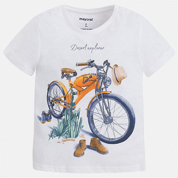 Футболка Mayoral для мальчикаФутболки, поло и топы<br>Характеристики товара:<br><br>• цвет: белый<br>• состав ткани: 100% хлопок<br>• сезон: лето<br>• короткие рукава<br>• страна бренда: Испания<br>• стиль и качество<br><br>Белая хлопковая футболка для мальчика от Майорал поможет обеспечить ребенку комфорт. Детская футболка отличается стильным и продуманным дизайном. В футболке для мальчика от испанской компании Майорал ребенок будет выглядеть модно, а чувствовать себя - удобно. <br><br>Футболку Mayoral (Майорал) для мальчика можно купить в нашем интернет-магазине.<br>Ширина мм: 199; Глубина мм: 10; Высота мм: 161; Вес г: 151; Цвет: белый; Возраст от месяцев: 18; Возраст до месяцев: 24; Пол: Мужской; Возраст: Детский; Размер: 92,134,128,122,116,110,104,98; SKU: 7538977;