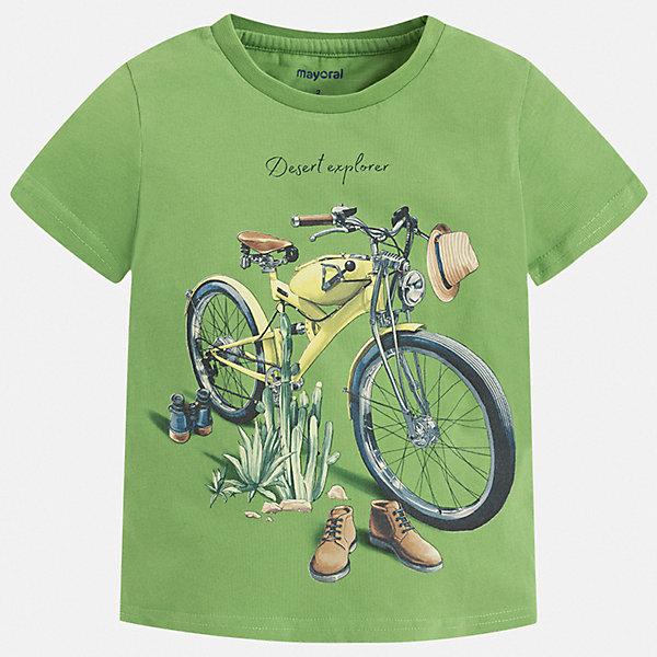 Футболка Mayoral для мальчикаФутболки, поло и топы<br>Характеристики товара:<br><br>• цвет: зеленый<br>• состав ткани: 100% хлопок<br>• сезон: лето<br>• короткие рукава<br>• страна бренда: Испания<br>• стиль и качество<br><br>Оригинальная футболка для мальчика от Mayoral удобно сидит по фигуре. Стильная детская футболка сделана из натуральной дышащей и антиаллергенной хлопковой ткани. Детская футболка поможет создать модный и комфортный наряд для ребенка. <br><br>Футболку Mayoral (Майорал) для мальчика можно купить в нашем интернет-магазине.<br>Ширина мм: 199; Глубина мм: 10; Высота мм: 161; Вес г: 151; Цвет: зеленый; Возраст от месяцев: 96; Возраст до месяцев: 108; Пол: Мужской; Возраст: Детский; Размер: 134,92,98,104,110,116,122,128; SKU: 7538995;