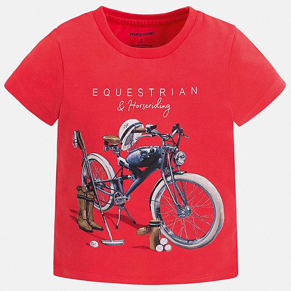 Футболка Mayoral для мальчикаФутболки, поло и топы<br>Характеристики товара:<br><br>• цвет: красный<br>• состав ткани: 100% хлопок<br>• сезон: лето<br>• короткие рукава<br>• страна бренда: Испания<br>• стиль и качество<br><br>Яркая хлопковая футболка для мальчика от Майорал поможет обеспечить ребенку комфорт. Детская футболка отличается стильным и продуманным дизайном. В футболке для мальчика от испанской компании Майорал ребенок будет выглядеть модно, а чувствовать себя - удобно. <br><br>Футболку Mayoral (Майорал) для мальчика можно купить в нашем интернет-магазине.<br>Ширина мм: 199; Глубина мм: 10; Высота мм: 161; Вес г: 151; Цвет: бордовый; Возраст от месяцев: 60; Возраст до месяцев: 72; Пол: Мужской; Возраст: Детский; Размер: 116,104,98,92,110,134,128,122; SKU: 7539004;