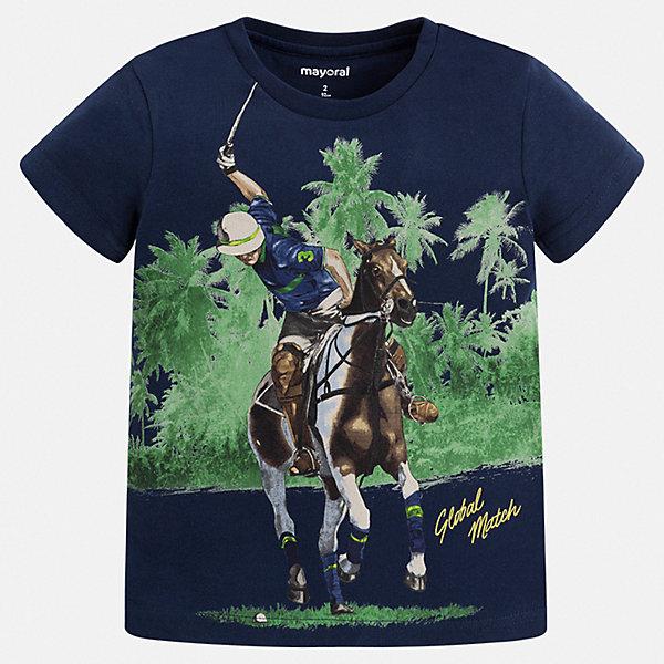 Футболка Mayoral для мальчикаФутболки, поло и топы<br>Характеристики товара:<br><br>• цвет: синий<br>• состав ткани: 100% хлопок<br>• сезон: лето<br>• короткие рукава<br>• страна бренда: Испания<br>• стиль и качество<br><br>Модная хлопковая футболка для мальчика от Майорал поможет обеспечить ребенку комфорт. Детская футболка отличается стильным и продуманным дизайном. В футболке для мальчика от испанской компании Майорал ребенок будет выглядеть модно, а чувствовать себя - удобно. <br><br>Футболку Mayoral (Майорал) для мальчика можно купить в нашем интернет-магазине.<br>Ширина мм: 199; Глубина мм: 10; Высота мм: 161; Вес г: 151; Цвет: синий; Возраст от месяцев: 60; Возраст до месяцев: 72; Пол: Мужской; Возраст: Детский; Размер: 116,110,104,98,92,134,128,122; SKU: 7539031;