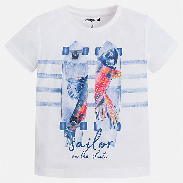 Футболка Mayoral для мальчикаФутболки, поло и топы<br>Характеристики товара:<br><br>• цвет: белый<br>• состав ткани: 100% хлопок<br>• сезон: лето<br>• короткие рукава<br>• страна бренда: Испания<br>• стиль и качество<br><br>Эффектная детская футболка с коротким рукавом декорирована стильным принтом. Края детской футболки обработаны мягкими швами. Такая футболка для мальчика отличается модным дизайном.<br><br>Футболку Mayoral (Майорал) для мальчика можно купить в нашем интернет-магазине.<br>Ширина мм: 199; Глубина мм: 10; Высота мм: 161; Вес г: 151; Цвет: красный; Возраст от месяцев: 24; Возраст до месяцев: 36; Пол: Мужской; Возраст: Детский; Размер: 98,134,128,122,116,110,104; SKU: 7539040;