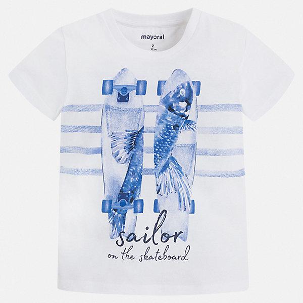 Футболка Mayoral для мальчикаФутболки, поло и топы<br>Характеристики товара:<br><br>• цвет: белый<br>• состав ткани: 100% хлопок<br>• сезон: лето<br>• короткие рукава<br>• страна бренда: Испания<br>• стиль и качество<br><br>Такая детская футболка сделана из натуральной трикотажной ткани, которая обеспечивает ребенку комфорт. Детская футболка поможет создать модный и удобный наряд для ребенка. Модная футболка для мальчика от Mayoral удобно сидит по фигуре. <br><br>Футболку Mayoral (Майорал) для мальчика можно купить в нашем интернет-магазине.<br>Ширина мм: 199; Глубина мм: 10; Высота мм: 161; Вес г: 151; Цвет: синий; Возраст от месяцев: 96; Возраст до месяцев: 108; Пол: Мужской; Возраст: Детский; Размер: 134,98,104,110,116,122,128; SKU: 7539048;