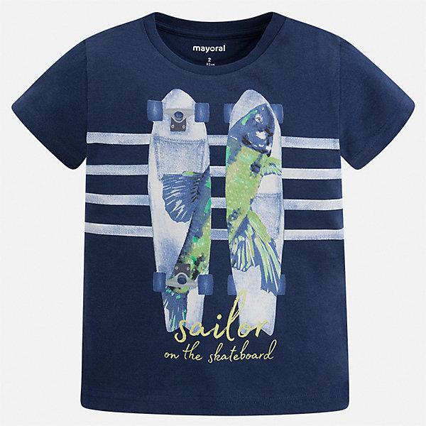 Футболка Mayoral для мальчикаФутболки, поло и топы<br>Характеристики товара:<br><br>• цвет: белый<br>• состав ткани: 100% хлопок<br>• сезон: лето<br>• короткие рукава<br>• страна бренда: Испания<br>• стиль и качество<br><br>Детская футболка отличается стильным и продуманным дизайном. Модная хлопковая футболка для мальчика от Майорал поможет обеспечить ребенку комфорт. В футболке для мальчика от испанской компании Майорал ребенок будет чувствовать себя удобно благодаря качественным швам и натуральному материалу. <br><br>Футболку Mayoral (Майорал) для мальчика можно купить в нашем интернет-магазине.<br>Ширина мм: 199; Глубина мм: 10; Высота мм: 161; Вес г: 151; Цвет: синий; Возраст от месяцев: 24; Возраст до месяцев: 36; Пол: Мужской; Возраст: Детский; Размер: 98,134,128,122,116,110,104; SKU: 7539056;