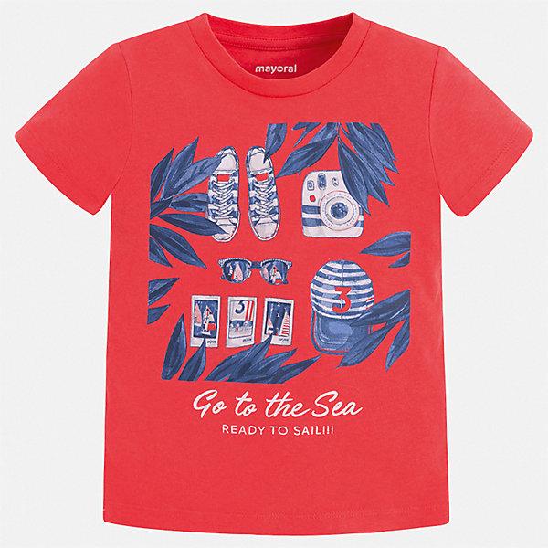 Футболка Mayoral для мальчикаФутболки, поло и топы<br>Характеристики товара:<br><br>• цвет: красный<br>• состав ткани: 100% хлопок<br>• сезон: лето<br>• короткие рукава<br>• страна бренда: Испания<br>• стиль и качество<br><br>Эффектная детская футболка с коротким рукавом декорирована стильным принтом. Края детской футболки обработаны мягкими швами. Такая футболка для мальчика отличается модным дизайном.<br><br>Футболку Mayoral (Майорал) для мальчика можно купить в нашем интернет-магазине.<br>Ширина мм: 199; Глубина мм: 10; Высота мм: 161; Вес г: 151; Цвет: бордовый; Возраст от месяцев: 84; Возраст до месяцев: 96; Пол: Мужской; Возраст: Детский; Размер: 128,122,116,110,104,98,92,134; SKU: 7539064;