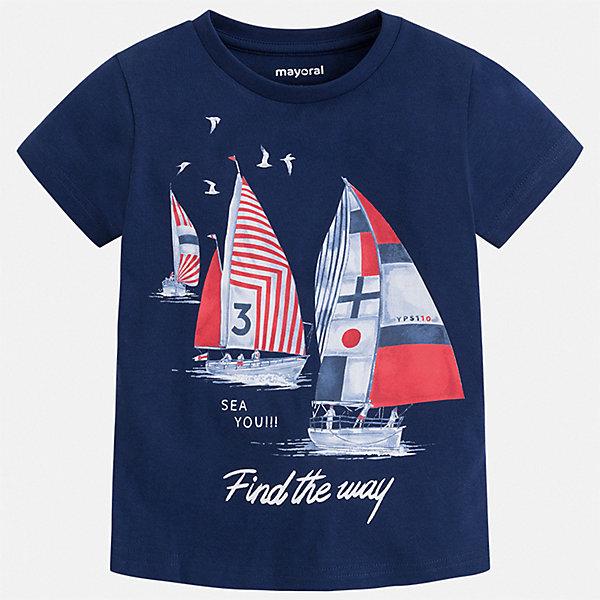 Футболка Mayoral для мальчикаФутболки, поло и топы<br>Характеристики товара:<br><br>• цвет: синий<br>• состав ткани: 100% хлопок<br>• сезон: лето<br>• короткие рукава<br>• страна бренда: Испания<br>• стиль и качество<br><br>Детская футболка поможет создать модный и удобный наряд для ребенка. Модная футболка для мальчика от Mayoral удобно сидит по фигуре. Стильная детская футболка сделана из натуральной трикотажной ткани, которая обеспечивает ребенку комфорт. <br><br>Футболку Mayoral (Майорал) для мальчика можно купить в нашем интернет-магазине.<br>Ширина мм: 199; Глубина мм: 10; Высота мм: 161; Вес г: 151; Цвет: синий; Возраст от месяцев: 84; Возраст до месяцев: 96; Пол: Мужской; Возраст: Детский; Размер: 128,134,92,98,104,110,116,122; SKU: 7539100;