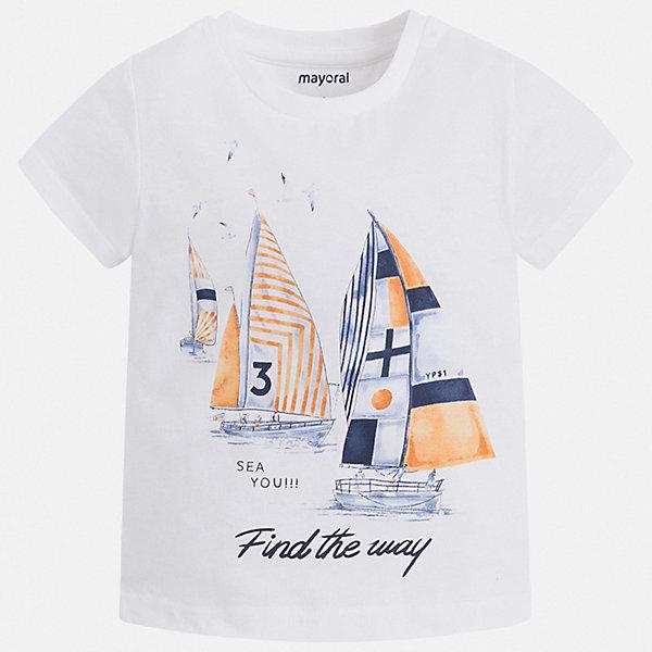 Футболка Mayoral для мальчикаФутболки, поло и топы<br>Характеристики товара:<br><br>• цвет: белый<br>• состав ткани: 100% хлопок<br>• сезон: лето<br>• короткие рукава<br>• страна бренда: Испания<br>• стиль и качество<br><br>Белая детская футболка с коротким рукавом декорирована стильным принтом. Края детской футболки обработаны мягкими швами. Такая футболка для мальчика отличается модным дизайном.<br><br>Футболку Mayoral (Майорал) для мальчика можно купить в нашем интернет-магазине.<br>Ширина мм: 199; Глубина мм: 10; Высота мм: 161; Вес г: 151; Цвет: белый; Возраст от месяцев: 18; Возраст до месяцев: 24; Пол: Мужской; Возраст: Детский; Размер: 92,134,128,122,116,110,104,98; SKU: 7539118;