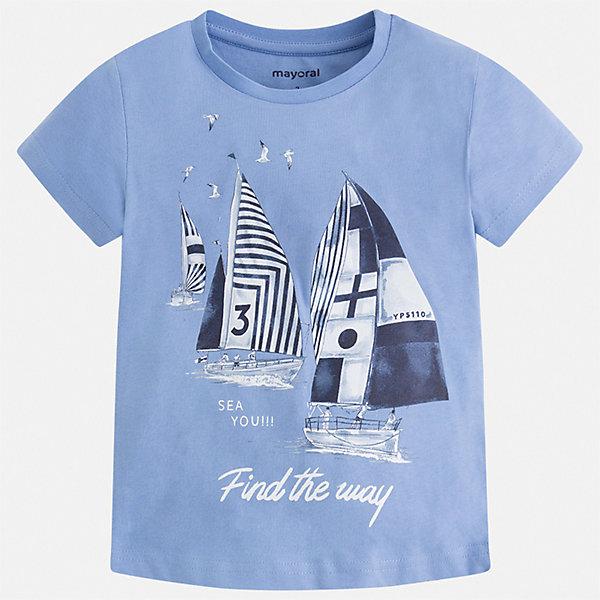 Футболка Mayoral для мальчикаФутболки, поло и топы<br>Характеристики товара:<br><br>• цвет: голубой<br>• состав ткани: 100% хлопок<br>• сезон: лето<br>• короткие рукава<br>• страна бренда: Испания<br>• стиль и качество<br><br>Хлопковая детская футболка сделана из натуральной трикотажной ткани, которая обеспечивает ребенку комфорт. Детская футболка поможет создать модный и удобный наряд для ребенка. Модная футболка для мальчика от Mayoral удобно сидит по фигуре. <br><br>Футболку Mayoral (Майорал) для мальчика можно купить в нашем интернет-магазине.<br>Ширина мм: 199; Глубина мм: 10; Высота мм: 161; Вес г: 151; Цвет: голубой; Возраст от месяцев: 18; Возраст до месяцев: 24; Пол: Мужской; Возраст: Детский; Размер: 92,134,128,122,116,110,104,98; SKU: 7539127;