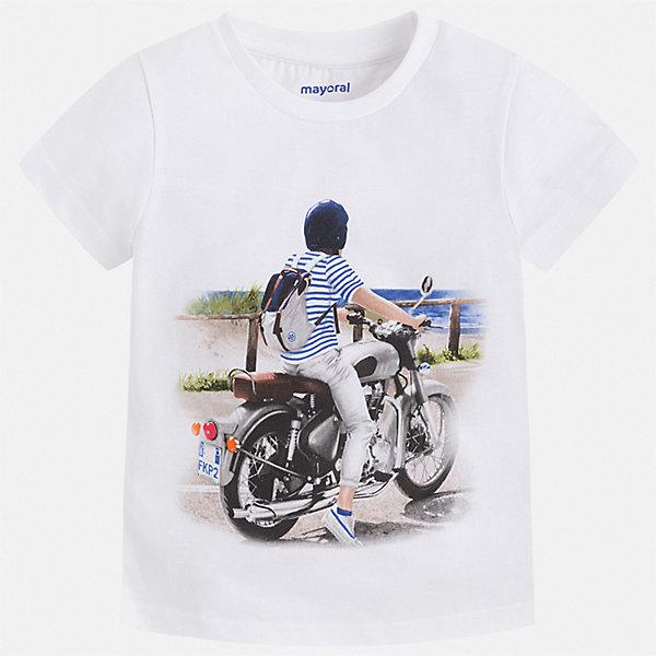 Футболка Mayoral для мальчикаФутболки, поло и топы<br>Характеристики товара:<br><br>• цвет: белый<br>• состав ткани: 100% хлопок<br>• сезон: лето<br>• короткие рукава<br>• страна бренда: Испания<br>• стиль и качество<br><br>Такая детская футболка отличается стильным и продуманным дизайном. Модная хлопковая футболка для мальчика от Майорал поможет обеспечить ребенку комфорт. В футболке для мальчика от испанской компании Майорал ребенок будет чувствовать себя удобно благодаря качественным швам и натуральному материалу. <br><br>Футболку Mayoral (Майорал) для мальчика можно купить в нашем интернет-магазине.<br>Ширина мм: 199; Глубина мм: 10; Высота мм: 161; Вес г: 151; Цвет: белый; Возраст от месяцев: 18; Возраст до месяцев: 24; Пол: Мужской; Возраст: Детский; Размер: 92,134,128,122,116,110,104,98; SKU: 7539136;