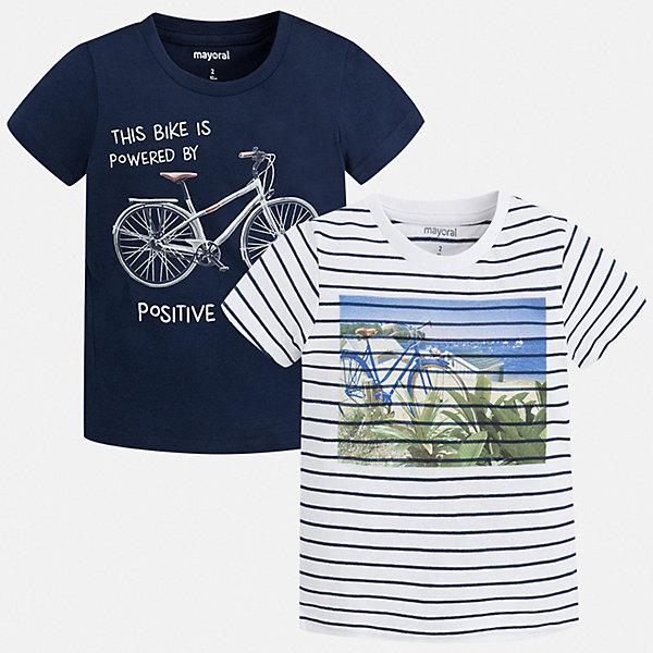 Комплект:2 футболки Mayoral для мальчикаФутболки, поло и топы<br>Характеристики товара:<br><br>• цвет: синий<br>• комплектация: 2 шт<br>• состав ткани: 100% хлопок<br>• сезон: лето<br>• короткие рукава<br>• страна бренда: Испания<br>• стиль и качество<br><br>В этом комплекте для ребенка - сразу две удобных детских футболки. В футболке для мальчика от испанской компании Майорал ребенок будет выглядеть модно, а чувствовать себя - удобно. Трикотажная футболка с принтом для мальчика от Майорал поможет обеспечить ребенку комфорт. <br><br>Комплект: 2 футболки Mayoral (Майорал) для мальчика можно купить в нашем интернет-магазине.<br>Ширина мм: 199; Глубина мм: 10; Высота мм: 161; Вес г: 151; Цвет: синий; Возраст от месяцев: 60; Возраст до месяцев: 72; Пол: Мужской; Возраст: Детский; Размер: 116,110,104,98,92,134,128,122; SKU: 7539181;