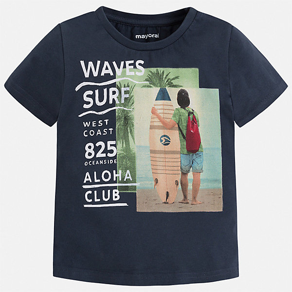 Футболка Mayoral для мальчикаФутболки, поло и топы<br>Характеристики товара:<br><br>• цвет: синий<br>• состав ткани: 100% хлопок<br>• сезон: лето<br>• короткие рукава<br>• страна бренда: Испания<br>• стиль и качество<br><br>Практичная и универсальная детская футболка с коротким рукавом декорирована стильным принтом. Края детской футболки обработаны мягкими швами. Такая футболка для мальчика отличается модным дизайном.<br><br>Футболку Mayoral (Майорал) для мальчика можно купить в нашем интернет-магазине.<br>Ширина мм: 199; Глубина мм: 10; Высота мм: 161; Вес г: 151; Цвет: синий; Возраст от месяцев: 36; Возраст до месяцев: 48; Пол: Мужской; Возраст: Детский; Размер: 104,134,128,122,116,110; SKU: 7539190;