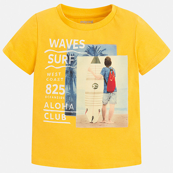Футболка Mayoral для мальчикаФутболки, поло и топы<br>Характеристики товара:<br><br>• цвет: желтый<br>• состав ткани: 100% хлопок<br>• сезон: лето<br>• короткие рукава<br>• страна бренда: Испания<br>• стиль и качество<br><br>Яркая детская футболка сделана из натуральной трикотажной ткани, которая обеспечивает ребенку комфорт. Детская футболка поможет создать модный и удобный наряд для ребенка. Модная футболка для мальчика от Mayoral удобно сидит по фигуре. <br><br>Футболку Mayoral (Майорал) для мальчика можно купить в нашем интернет-магазине.<br>Ширина мм: 199; Глубина мм: 10; Высота мм: 161; Вес г: 151; Цвет: желтый; Возраст от месяцев: 96; Возраст до месяцев: 108; Пол: Мужской; Возраст: Детский; Размер: 134,104,110,116,122,128; SKU: 7539197;