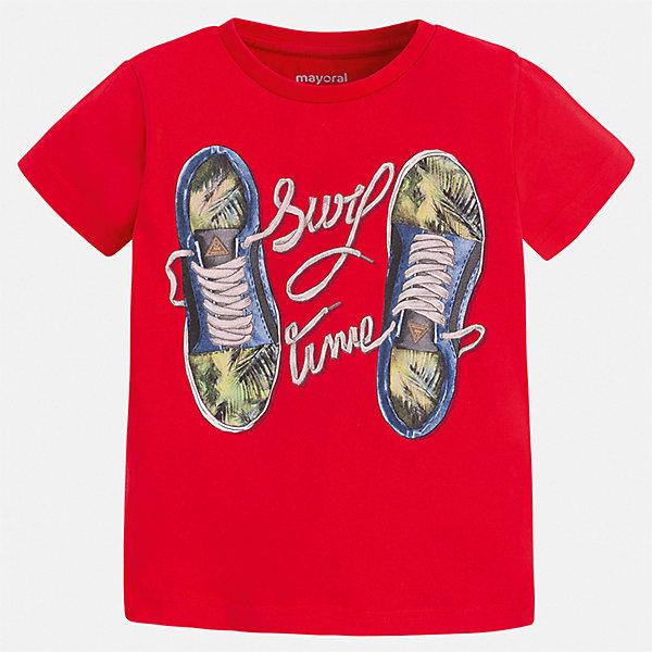 Футболка Mayoral для мальчикаФутболки, поло и топы<br>Характеристики товара:<br><br>• цвет: красный<br>• состав ткани: 100% хлопок<br>• сезон: лето<br>• короткие рукава<br>• страна бренда: Испания<br>• стиль и качество<br><br>В футболке для мальчика от испанской компании Майорал ребенок будет чувствовать себя удобно благодаря качественным швам и натуральному материалу. Эффектная детская футболка отличается стильным и продуманным дизайном. Модная хлопковая футболка для мальчика от Майорал поможет обеспечить ребенку комфорт.<br><br>Футболку Mayoral (Майорал) для мальчика можно купить в нашем интернет-магазине.<br>Ширина мм: 199; Глубина мм: 10; Высота мм: 161; Вес г: 151; Цвет: бордовый; Возраст от месяцев: 60; Возраст до месяцев: 72; Пол: Мужской; Возраст: Детский; Размер: 116,134,128,122,110,104,98; SKU: 7539204;