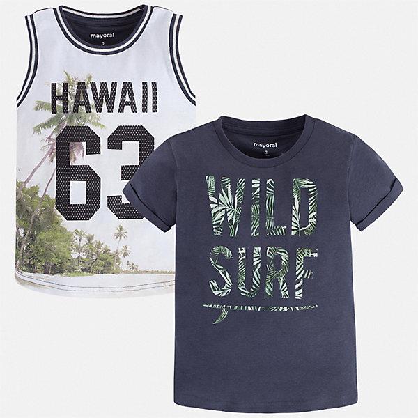 Комплект:футболка,майка Mayoral для мальчикаКомплекты<br>Характеристики товара:<br><br>• цвет: белый, синий<br>• комплектация: футболка, майка<br>• состав ткани: 100% хлопок<br>• сезон: лето<br>• особенности модели: спортивный стиль<br>• короткие рукава<br>• страна бренда: Испания<br>• стиль и качество<br><br>Майка и футболка для мальчика от Майорал - отличный комплект для жаркого времени года. В этом детском комплекте - сразу две качественные и модные вещи. В футболке или майке для мальчика от испанской компании Майорал ребенок будет чувствовать себя удобно благодаря высокому качеству материала и швов. <br><br>Комплект: футболка, майка Mayoral (Майорал) для мальчика можно купить в нашем интернет-магазине.<br>Ширина мм: 199; Глубина мм: 10; Высота мм: 161; Вес г: 151; Цвет: синий; Возраст от месяцев: 18; Возраст до месяцев: 24; Пол: Мужской; Возраст: Детский; Размер: 92,134,128,122,116,110,104,98; SKU: 7539247;