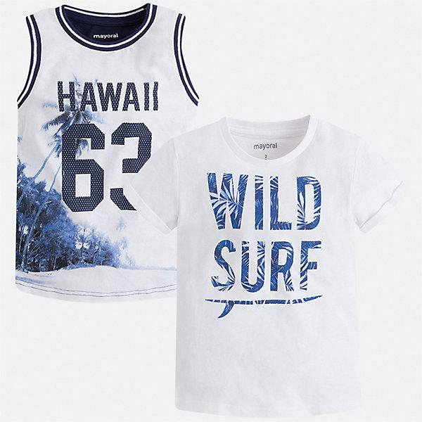 Комплект:футболка,майка Mayoral для мальчикаКомплекты<br>Характеристики товара:<br><br>• цвет: белый<br>• комплектация: футболка, майка<br>• состав ткани: 100% хлопок<br>• сезон: лето<br>• особенности модели: спортивный стиль<br>• короткие рукава<br>• страна бренда: Испания<br>• стиль и качество<br><br>Симпатичный комплект - футболка с принтом и майка для мальчика от Майорал - отлично сочетается между собой, а также с другими вещами. В этом детском наборе - сразу две модные вещи. С футболкой или майкой для мальчика от испанской компании Майорал можно создать множество удобных и модных нарядов. <br><br>Комплект: футболка, майка Mayoral (Майорал) для мальчика можно купить в нашем интернет-магазине.<br>Ширина мм: 199; Глубина мм: 10; Высота мм: 161; Вес г: 151; Цвет: белый; Возраст от месяцев: 36; Возраст до месяцев: 48; Пол: Мужской; Возраст: Детский; Размер: 104,134,128,122,116,110; SKU: 7539263;