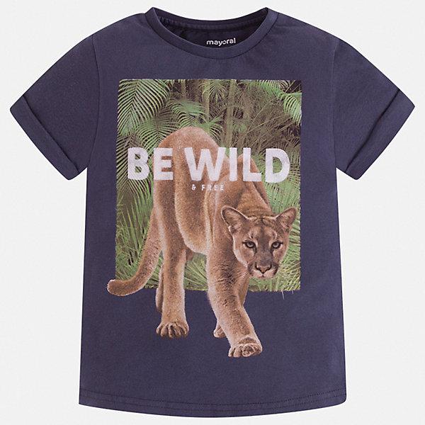 Футболка Mayoral для мальчикаФутболки, поло и топы<br>Характеристики товара:<br><br>• цвет: синий<br>• состав ткани: 100% хлопок<br>• сезон: лето<br>• короткие рукава<br>• страна бренда: Испания<br>• стиль и качество<br><br>Практичная детская футболка отличается стильным и продуманным дизайном. Модная хлопковая футболка для мальчика от Майорал поможет обеспечить ребенку комфорт. В футболке для мальчика от испанской компании Майорал ребенок будет чувствовать себя удобно благодаря качественным швам и натуральному материалу. <br><br>Футболку Mayoral (Майорал) для мальчика можно купить в нашем интернет-магазине.<br>Ширина мм: 199; Глубина мм: 10; Высота мм: 161; Вес г: 151; Цвет: синий; Возраст от месяцев: 18; Возраст до месяцев: 24; Пол: Мужской; Возраст: Детский; Размер: 92,134,128,122,116,110,104,98; SKU: 7539279;