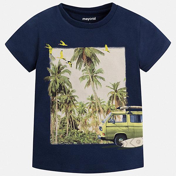 Футболка Mayoral для мальчикаФутболки, поло и топы<br>Характеристики товара:<br><br>• цвет: синий<br>• состав ткани: 100% хлопок<br>• сезон: лето<br>• короткие рукава<br>• страна бренда: Испания<br>• стиль и качество<br><br>Практичная футболка для мальчика от Mayoral - универсальная и комфортная базовая вещь для детского гардероба. Хлопковая детская футболка сделана из натуральной трикотажной ткани, которая обеспечивает ребенку комфорт. Детская футболка поможет создать модный и удобный наряд для ребенка. <br><br>Футболку Mayoral (Майорал) для мальчика можно купить в нашем интернет-магазине.<br>Ширина мм: 199; Глубина мм: 10; Высота мм: 161; Вес г: 151; Цвет: синий; Возраст от месяцев: 18; Возраст до месяцев: 24; Пол: Мужской; Возраст: Детский; Размер: 92,134,128,122,116,110,104,98; SKU: 7539324;