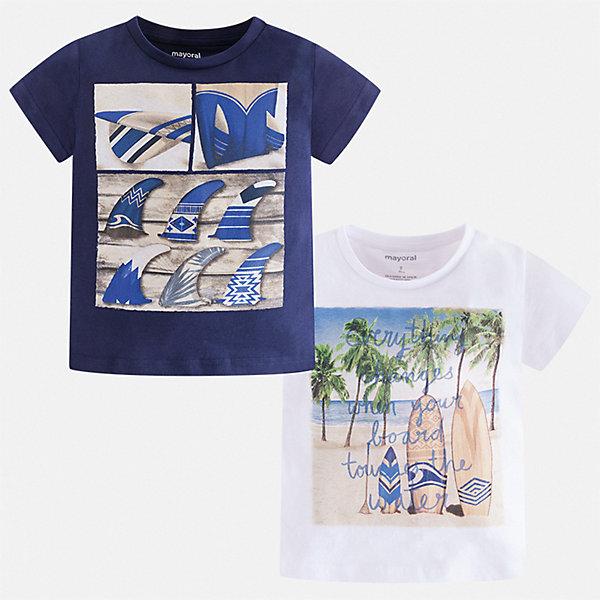 Комплект:2 футболки Mayoral для мальчикаКомплекты<br>Характеристики товара:<br><br>• цвет: синий, белый<br>• комплектация: 2 шт<br>• состав ткани: 100% хлопок<br>• сезон: лето<br>• короткие рукава<br>• страна бренда: Испания<br>• стиль и качество<br><br>В этом комплект для ребенка - сразу две удобных детских футболки. В футболке для мальчика от испанской компании Майорал ребенок будет выглядеть модно, а чувствовать себя - удобно. Трикотажная футболка с принтом для мальчика от Майорал поможет создать стильный комплект. <br><br>Комплект: 2 футболки Mayoral (Майорал) для мальчика можно купить в нашем интернет-магазине.<br>Ширина мм: 199; Глубина мм: 10; Высота мм: 161; Вес г: 151; Цвет: синий; Возраст от месяцев: 36; Возраст до месяцев: 48; Пол: Мужской; Возраст: Детский; Размер: 104,134,128,122,116,110; SKU: 7539377;