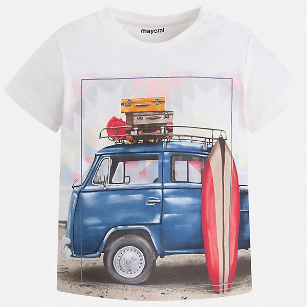 Футболка Mayoral для мальчикаФутболки, поло и топы<br>Характеристики товара:<br><br>• цвет: белый<br>• состав ткани: 100% хлопок<br>• сезон: лето<br>• короткие рукава<br>• страна бренда: Испания<br>• стиль и качество<br><br>Белая детская футболка отлично сочетается с различными брюками и шортами. Модная хлопковая футболка для мальчика от Майорал поможет обеспечить ребенку комфорт. В футболке для мальчика от испанской компании Майорал ребенок будет чувствовать себя удобно благодаря качественным швам и натуральному материалу. <br><br>Футболку Mayoral (Майорал) для мальчика можно купить в нашем интернет-магазине.<br>Ширина мм: 199; Глубина мм: 10; Высота мм: 161; Вес г: 151; Цвет: бежевый; Возраст от месяцев: 18; Возраст до месяцев: 24; Пол: Мужской; Возраст: Детский; Размер: 92,134,128,122,116,110,104,98; SKU: 7539384;