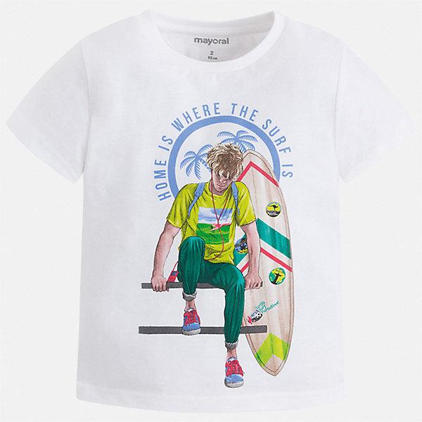 Футболка Mayoral для мальчикаФутболки, поло и топы<br>Характеристики товара:<br><br>• цвет: белый<br>• состав ткани: 100% хлопок<br>• сезон: лето<br>• короткие рукава<br>• страна бренда: Испания<br>• стиль и качество<br><br>Такая футболка для мальчика от Mayoral - универсальная и комфортная базовая вещь для детского гардероба. Хлопковая детская футболка сделана из натуральной трикотажной ткани, которая обеспечивает ребенку комфорт. Детская футболка поможет создать модный и удобный наряд для ребенка. <br><br>Футболку Mayoral (Майорал) для мальчика можно купить в нашем интернет-магазине.<br>Ширина мм: 199; Глубина мм: 10; Высота мм: 161; Вес г: 151; Цвет: белый; Возраст от месяцев: 84; Возраст до месяцев: 96; Пол: Мужской; Возраст: Детский; Размер: 128,134,104,110,116,122; SKU: 7539402;