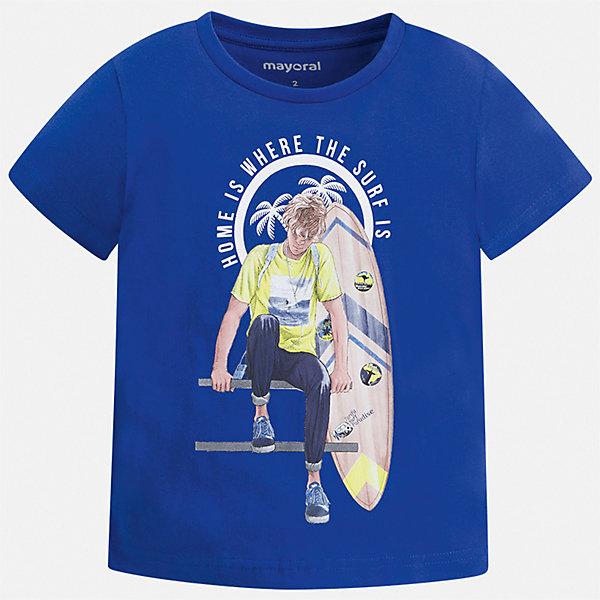Футболка Mayoral для мальчикаФутболки, поло и топы<br>Характеристики товара:<br><br>• цвет: мульти<br>• состав ткани: 100% хлопок<br>• сезон: лето<br>• короткие рукава<br>• страна бренда: Испания<br>• стиль и качество<br><br>Удобная детская футболка отлично сочетается с различными брюками и шортами. Модная хлопковая футболка для мальчика от Майорал поможет обеспечить ребенку комфорт. В футболке для мальчика от испанской компании Майорал ребенок будет чувствовать себя удобно благодаря качественным швам и натуральному материалу. <br><br>Футболку Mayoral (Майорал) для мальчика можно купить в нашем интернет-магазине.<br>Ширина мм: 199; Глубина мм: 10; Высота мм: 161; Вес г: 151; Цвет: синий; Возраст от месяцев: 36; Возраст до месяцев: 48; Пол: Мужской; Возраст: Детский; Размер: 104,134,128,122,116,110; SKU: 7539409;