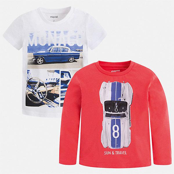 Комплект:Футболка с длинным рукавом, футболка Mayoral для мальчика, Китай, бордовый, 92, 134, 128, 122, 116, 110, 104, 98, Мужской  - купить со скидкой